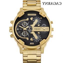 <font><b>52MM</b></font> Big Case Gold Watch Men Stainless S