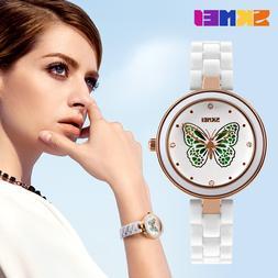 <font><b>SKMEI</b></font> Brand Womens Watches Luxury Cerami