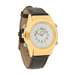Mens Gold Braille Talking Watch-English-White Dial + Leather