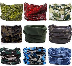 KINGREE 9PCS Headbands, Outdoor Multifunctional Headwear, Sp