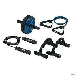 Home Gym Kit, Jump Rope, Push-up Bars, Ab Wheel, Medium Resi
