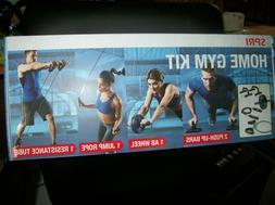 SPRI Home Gym Kit. Jump Rope Push Up Ab Wheel Resistance Tub