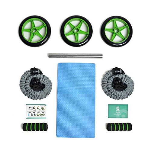 Odoland Roller Kit Pro with Pad,Anti-Slip Handles,Storage Training Abdominal Core Fitness Workout Abs