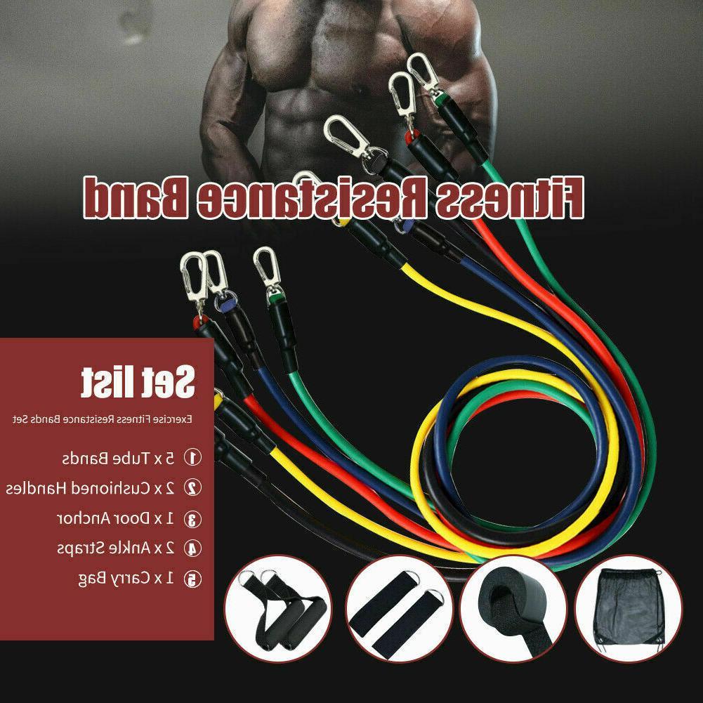 11 PCS Set Yoga Abs Exercise Fitness Tube Workout Bands