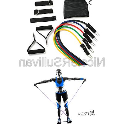 Tribe Premium Resistance Bands Set, Workout - with Ha...
