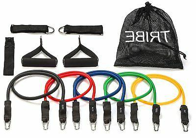 Tribe 11pc Resistance Band Set - with Door Anchor, Handles,