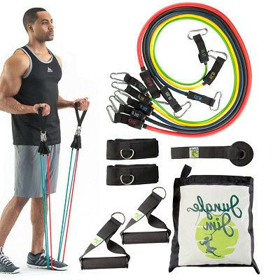 11pc Jungle Jim Resistance Bands for Women or Men Leg and Bu