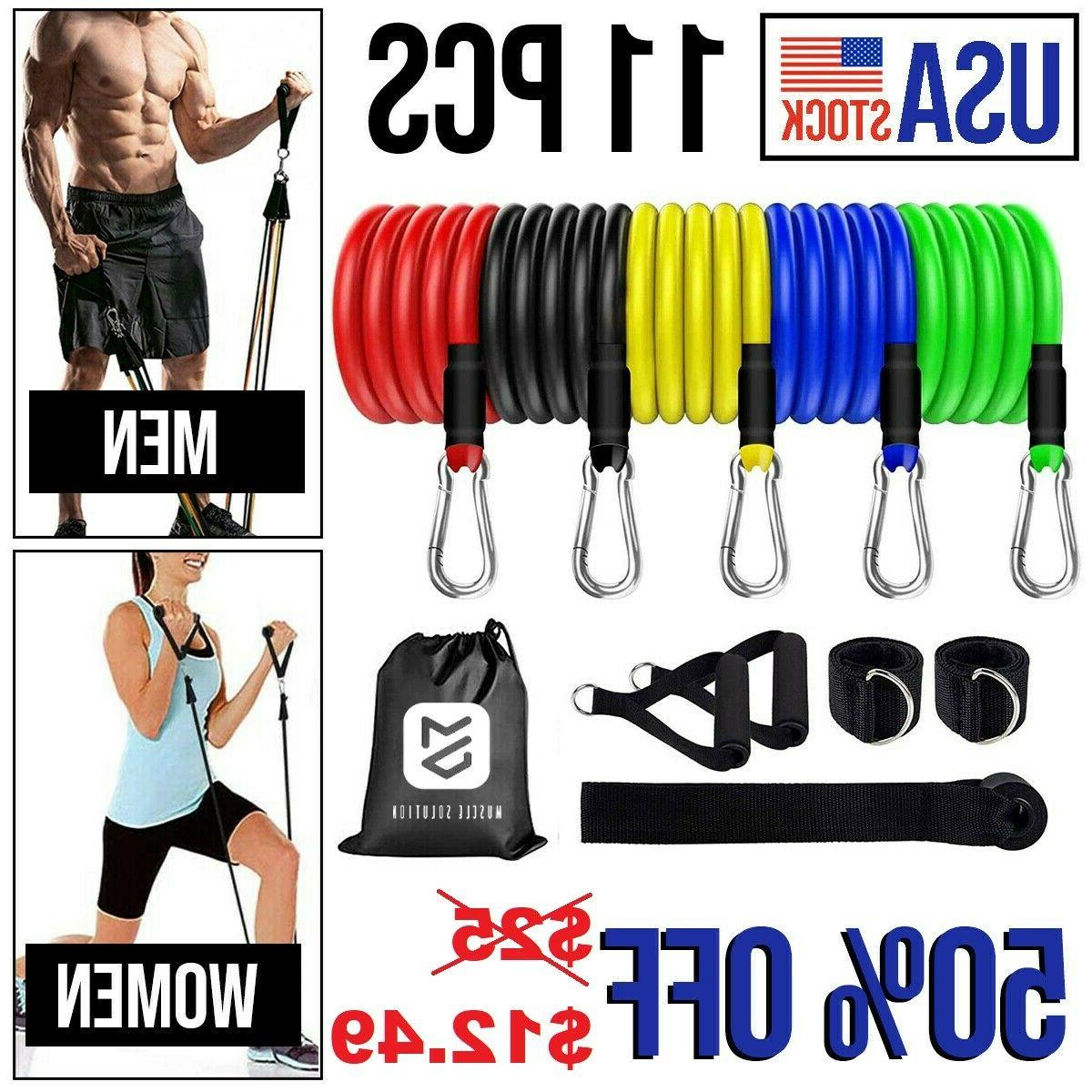 11pcs resistance bands home workout exercise cross