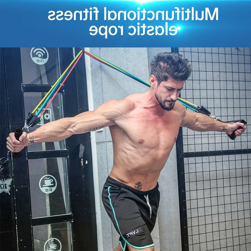 11Pcs Expander Yoga Exercise Fitness Rubber Tube Home Gym