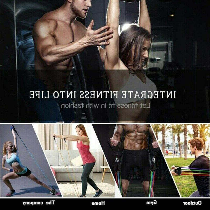 11 pcs Pilates Fitness Gym Workout Bands