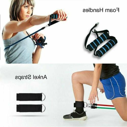 11pcs/Set Pull Rope Exercise Resistance Bands Equipment Fitness