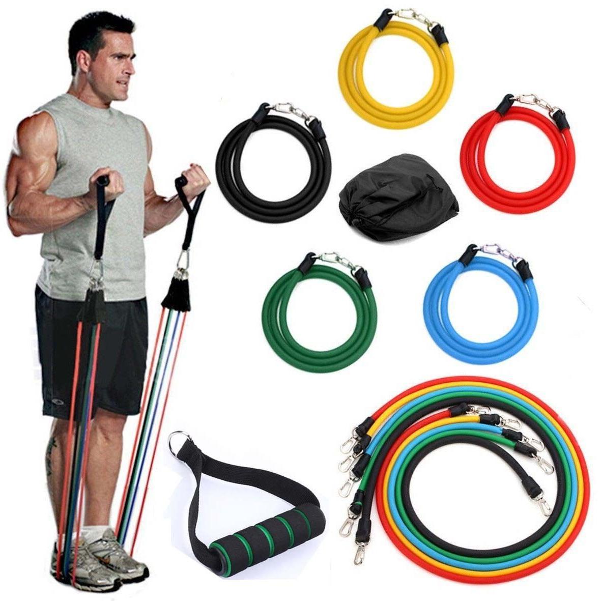 11pcs workout exercise resistance bands pilates gym