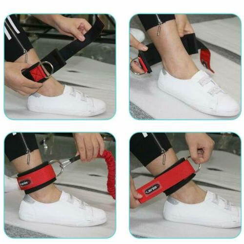 2 Gym Ankle Straps Weight D Ring Attachment Strap