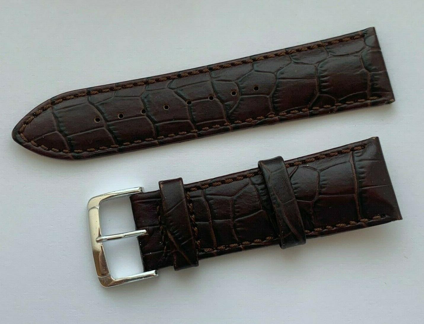 24 mm genuine leather water resistance brown