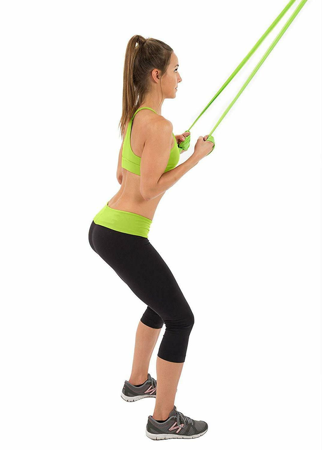 3Pc Resistance Bands Yoga Pilates Exercise Bands with Anchor