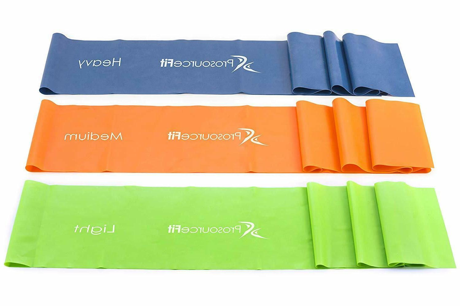 3Pc Resistance Yoga & Pilates Stretch Exercise Bands with Anchor
