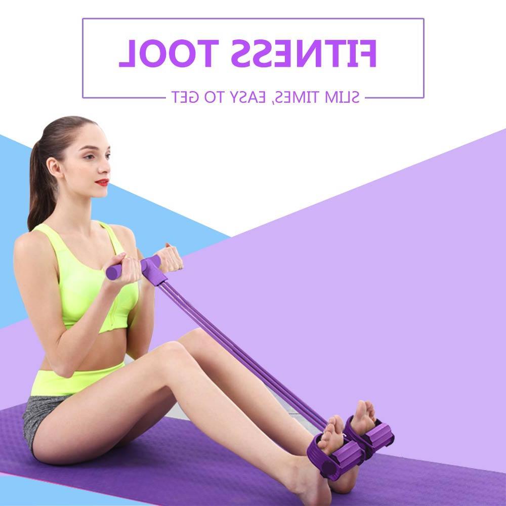 4 Tube <font><b>Resistance</b></font> <font><b>Bands</b></font> Pedal Exerciser Foot Ropes yoga Slimming