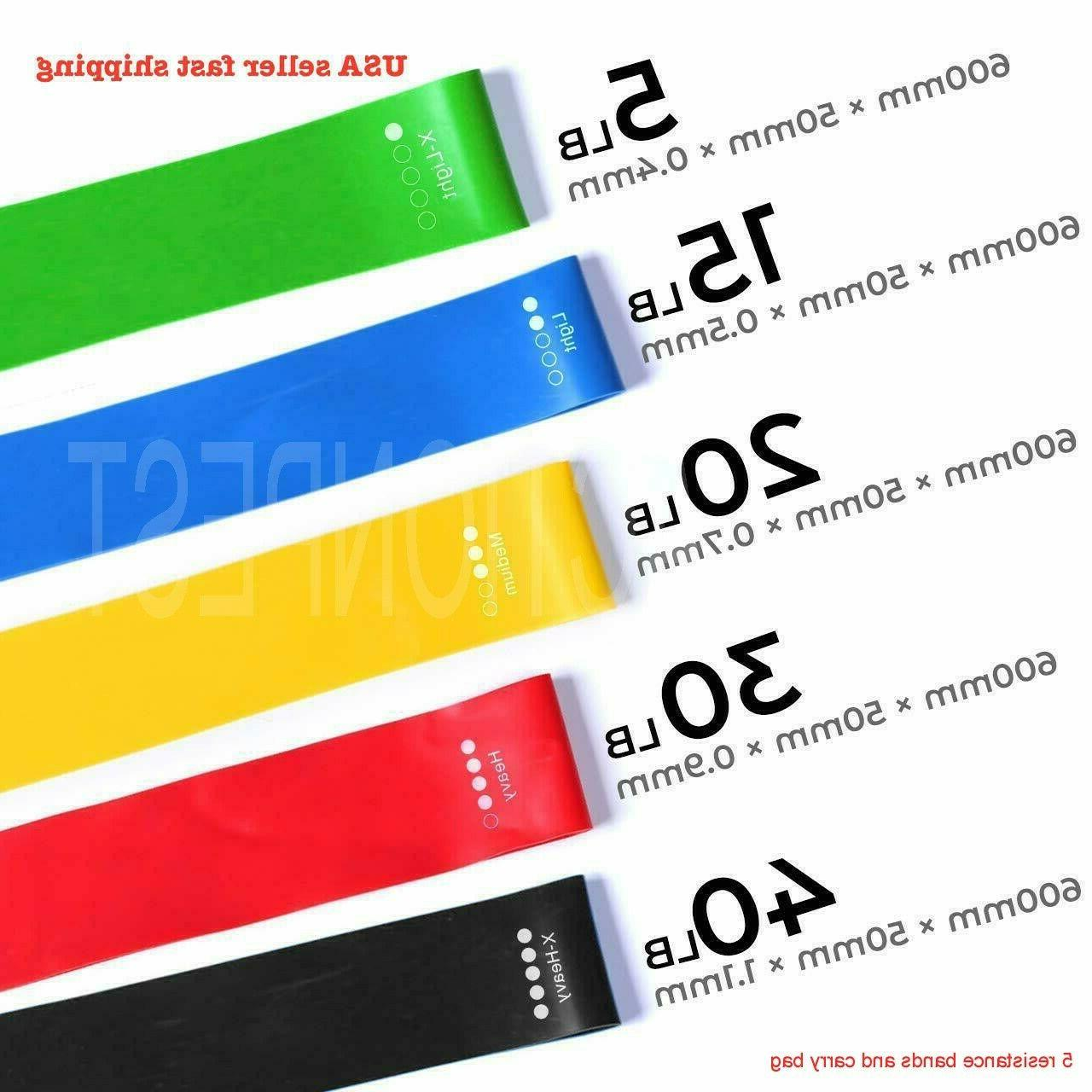 5 pcs resistance exercise loop bands fitness