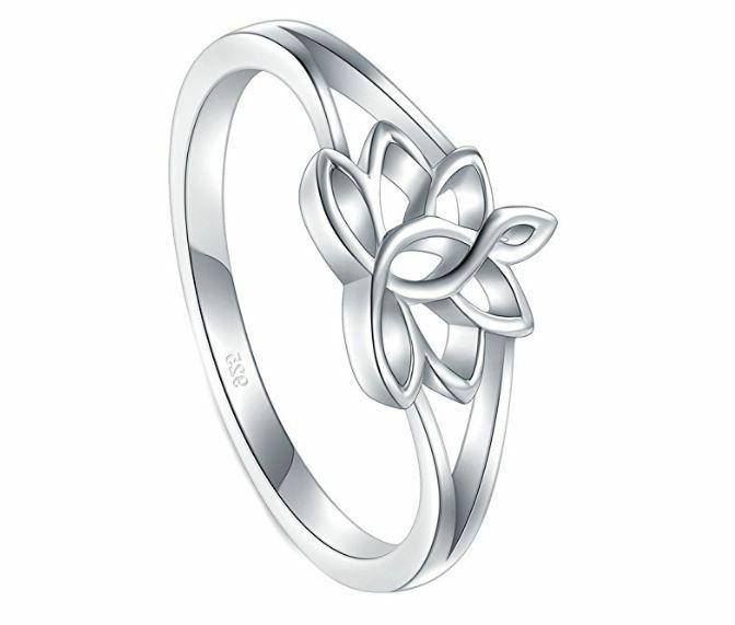 925 SILVER LOTUS FLOWER 2mm BAND RESISTANT