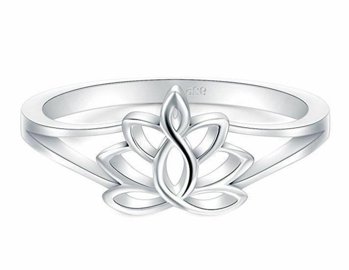 925 sterling silver ring lotus flower yoga