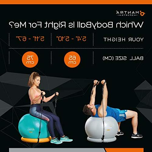 Exercise Ball Chair Stability for Home Gym Office - Resistance Bands, & Core Strength