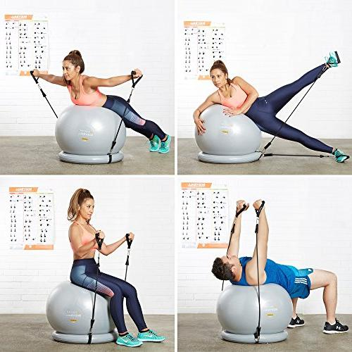 Exercise 65cm & Fitness Ball & Stability Base for Home Gym Resistance & Core Posture - Men & Women