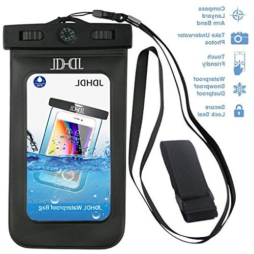 """Universal Waterproof Phone Case, JDHDL Premium Smartphone Dry Bag with Compass, Lanyard for iPhone Plus/8/7/6S Plus, Samsung Galaxy S9+, MOTO to 6.0"""""""