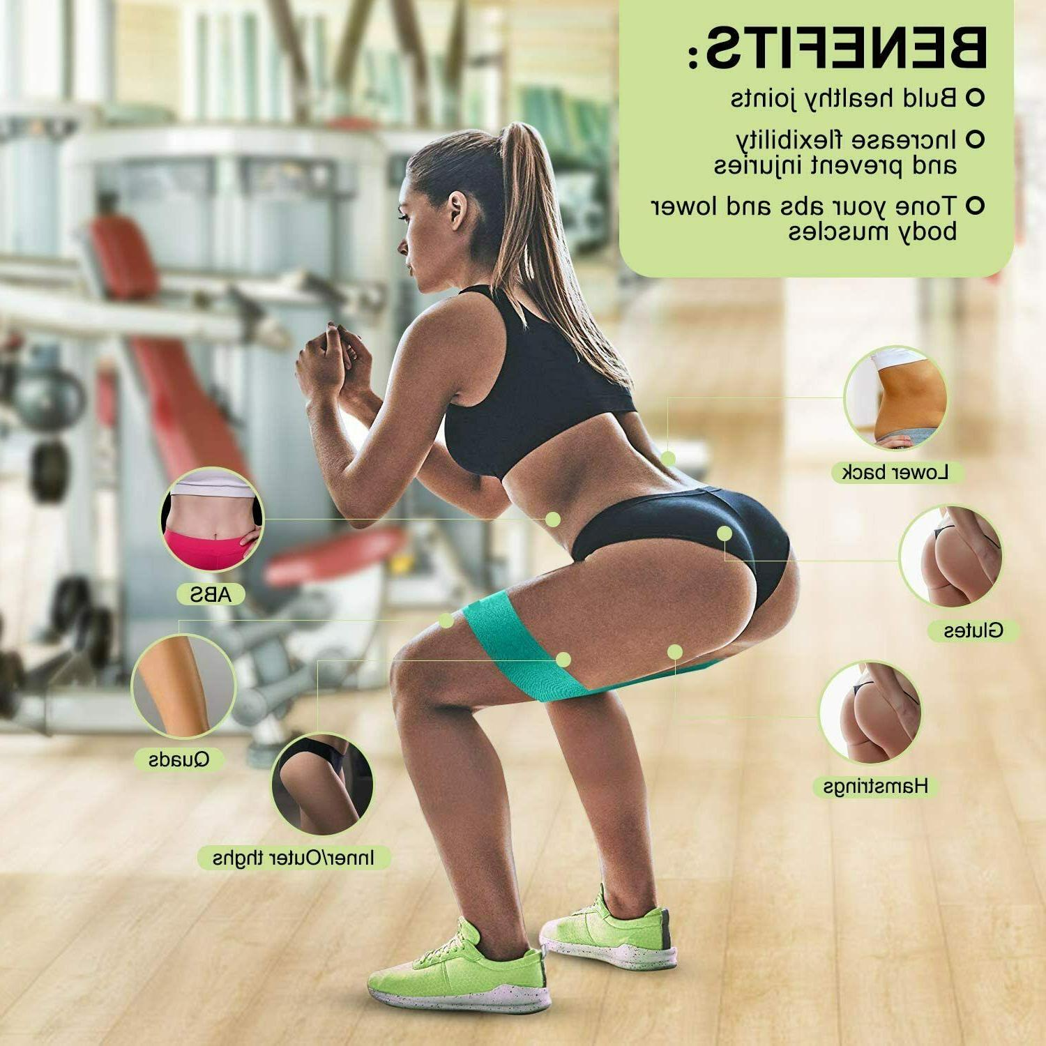 Cloth Fabric Resistance Bands Loop 3 Exercise Fitness