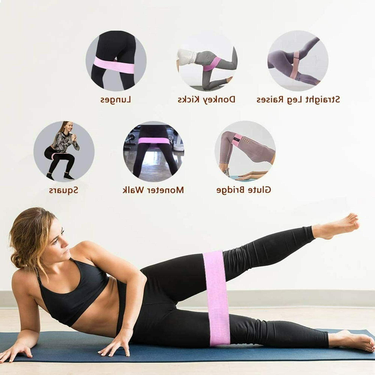 Cloth Fabric Bands Set of 3 Exercise Workout Fitness