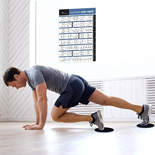 """Core Slider Exercise - Abdominal - Total Body - Home Training Program Discs and 20""""x30"""""""