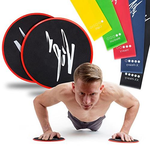 Core Sliders Resistance Bands | Gliding Band Set for Exercises | 80 Equipment for | & Flexibility