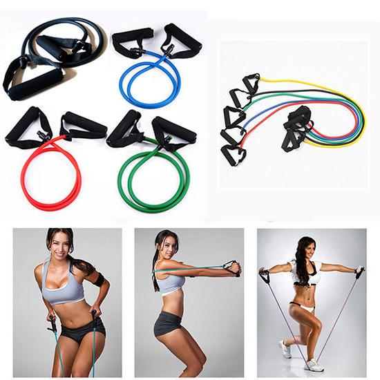 Exercise Latex Resistance Fitness Stretch Yoga Tube Home