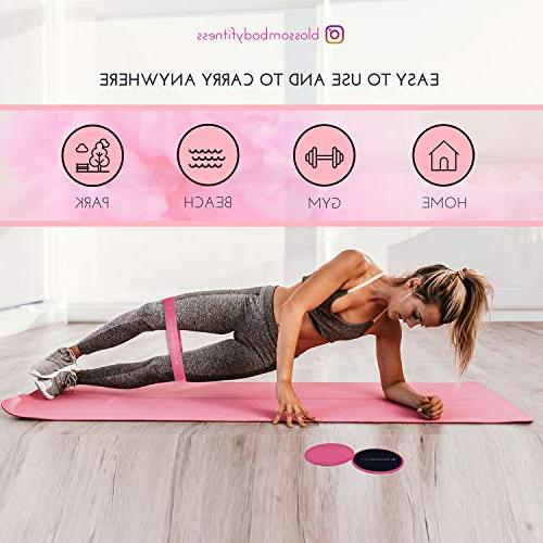 BLOSSOMBODY Exercise Sliders Resistance for Women 10 Inch Bands and Pink Core Sliders   Home Equipment Perfect for Abs, Legs