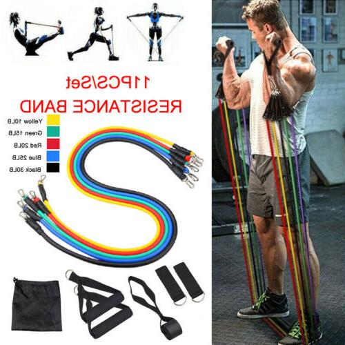 HOME WORKOUT RESISTANCE BAND SET Yoga Exercise Fitness Bands