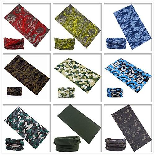 KINGREE 9PCS Scarf, with UV Resistance, Headwrap, Mens Sweatband, Hairband