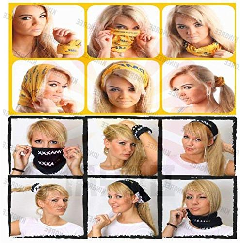 KINGREE 9PCS Multifunctional Headwear, Sports Magic Scarf, Elastic Headband with Headwrap, Sweatband, Hairband
