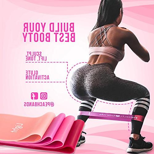 Peach Matte Resistance Loop Bands | 4 with Carrying | Fitness Bands Glutes Therapy, Stretch, Workout