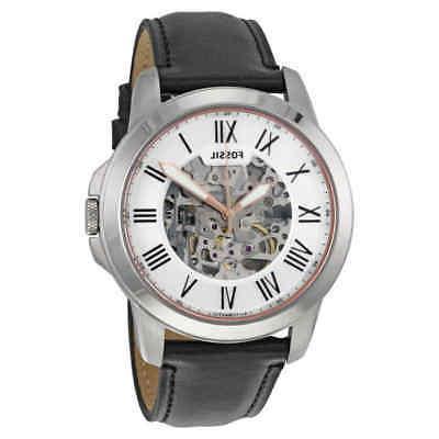 Fossil® Watch in Silvertone Black Leather Strap
