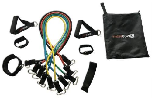 New WODFitters Stackable 5 Resistance Bands Set Soft Grip Ha