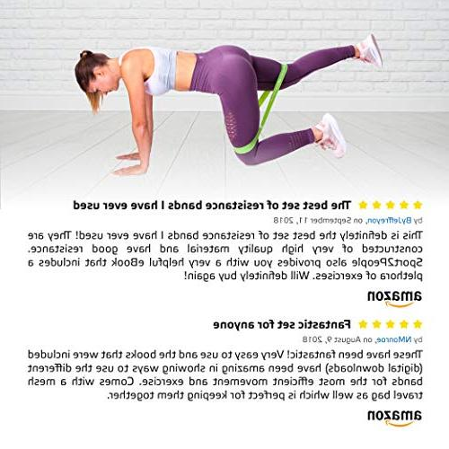 Bands for Booty Building with Workout E-Books for Physical Therapy - Fitness Loops Leg Set of 5 Levels Latex