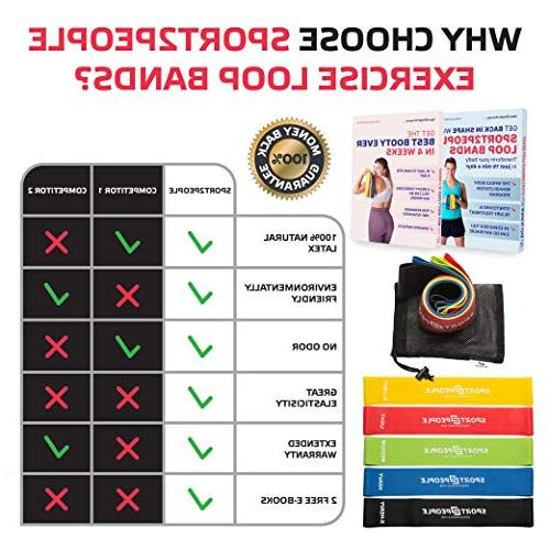 Sport2People Exercise Bands Booty Building with E-Books for Strength Physical Loops Hips Leg Set of 5 Levels - Natural Latex