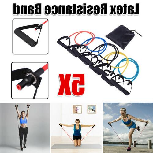 Premium Bands Set Gym Fitness Pilates Tube Band