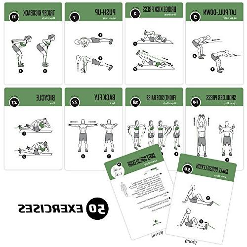 Resistance Band Exercise Cards Large with Effective Workouts Durable & Waterproof with and Fitness & Cards