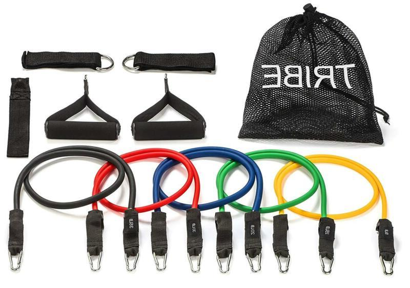 Tribe 11pc Resistance Band Set, Workout Bands - with Door An