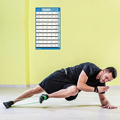 """Avocadu Resistance Workout Poster with Band Included- 24"""" Poster Workout Moves for Home Workouts"""