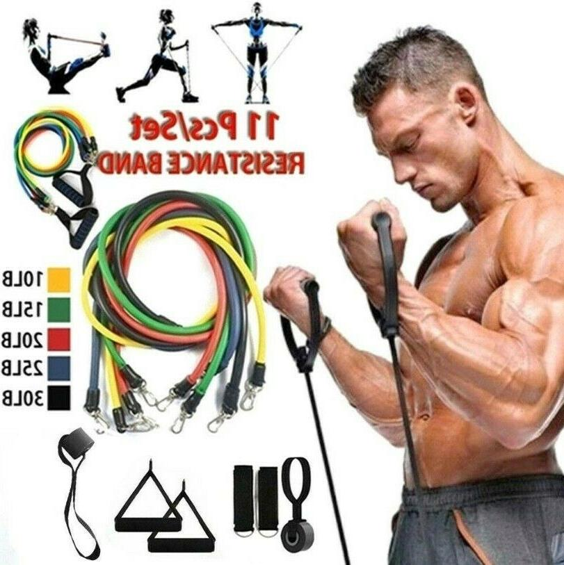 Resistance Bands Piece Workout Set. Fitness. Includes Workout