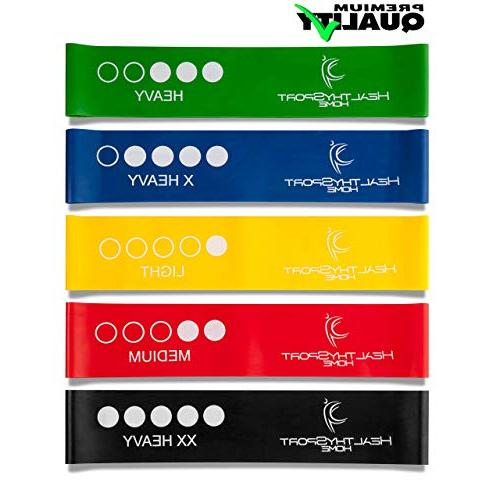 Resistance Bands Bands for Butt with Instruction - Carry Bag of 5 - Best Resistance Loops for - Men -