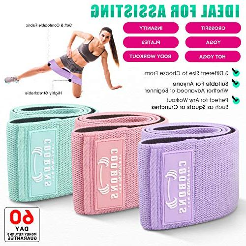 COOBONS Resistance Legs and Hip Wide Loop Bands Circle Fitness Elastic Sports 3
