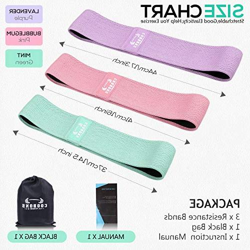 COOBONS Bands Legs Wide Workout Bands Loop Anti Circle Fitness Band Sports Bands Set 3