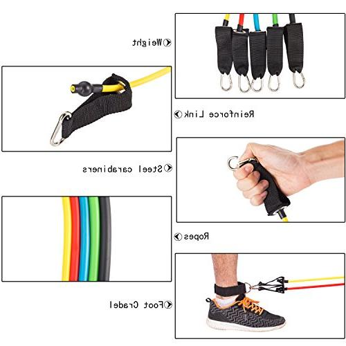 Resistance Bands 12 Set Workout Bands Attachment, Foam Legs and Waterproof Case for Physical Gyms